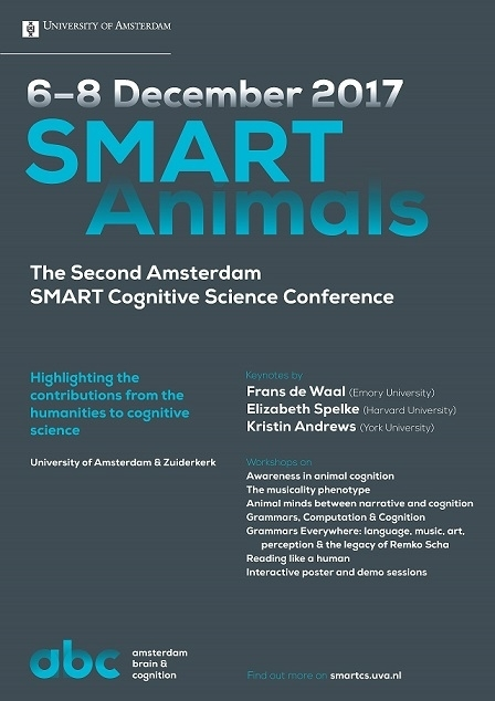 Poster announcing SMART Animals, the second Amsterdam SMART Cognitive Science Conference.